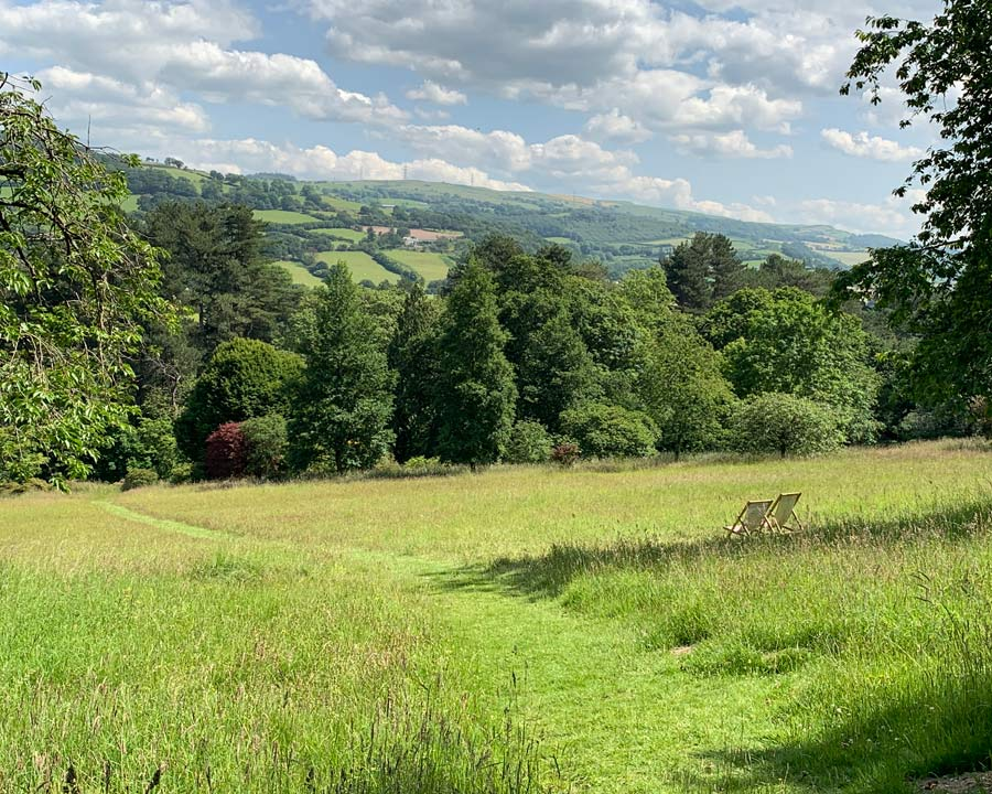 Bodnant Gardens, Conwy, North Wales - Furnace Meadow with sweeping views of Welsh countryside