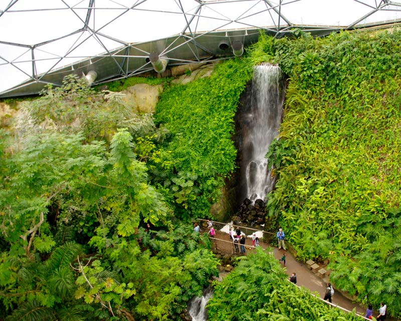 View from the viewing platform 100m above ground in the Tropical Biome  - Eden Project